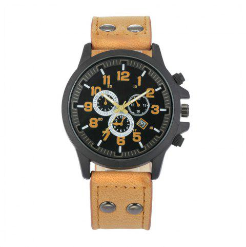 V5 Men's Leather Military Style Calendar Quartz Watch - CINNAMON