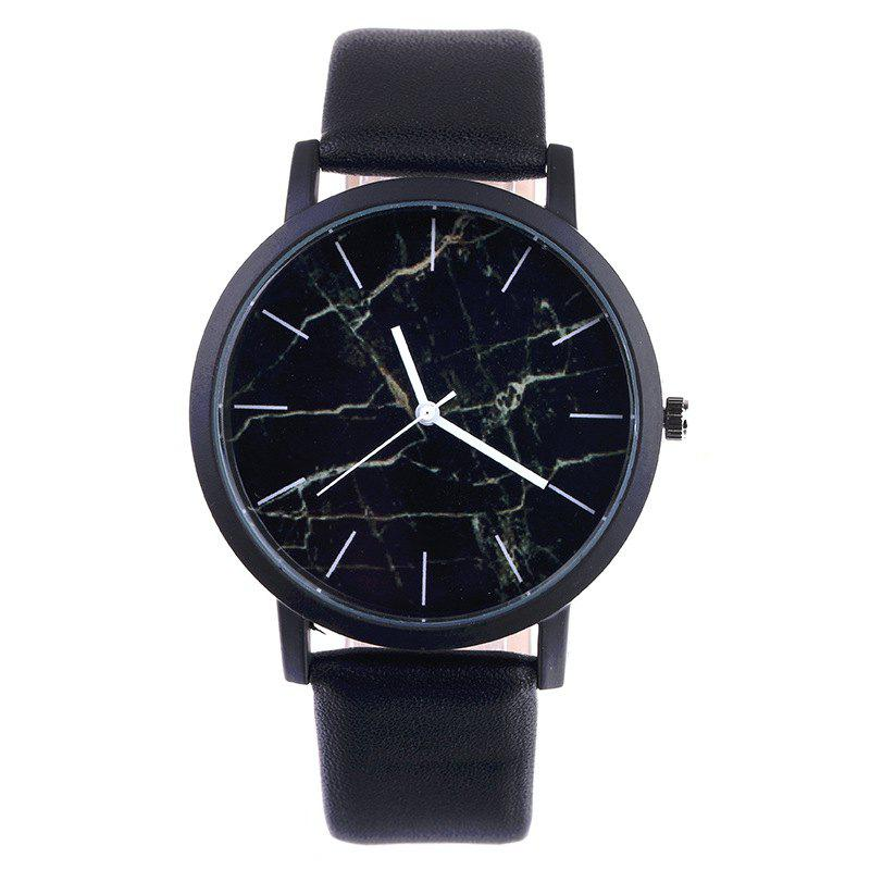 V5 Classic Design Simple Marble Quartz Wrist Watch - BLACK
