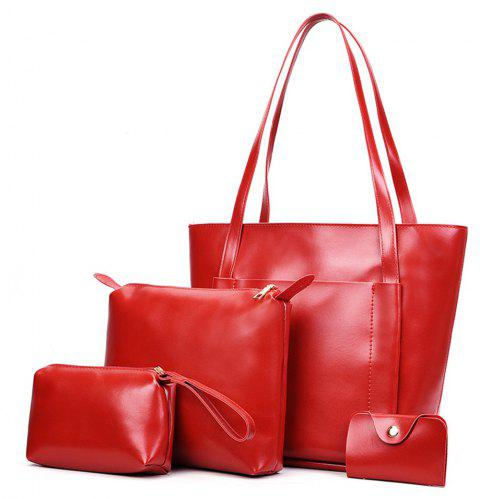 Women's Four Pieces Hand Shoulder Soft Leather Large Capacity Tote Bag - RED