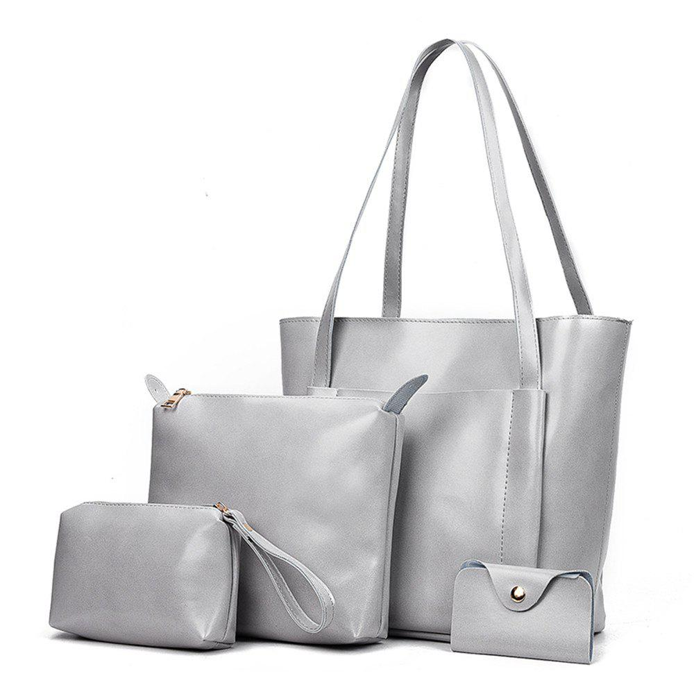 Women's Four Pieces Hand Shoulder Soft Leather Large Capacity Tote Bag - GRAY