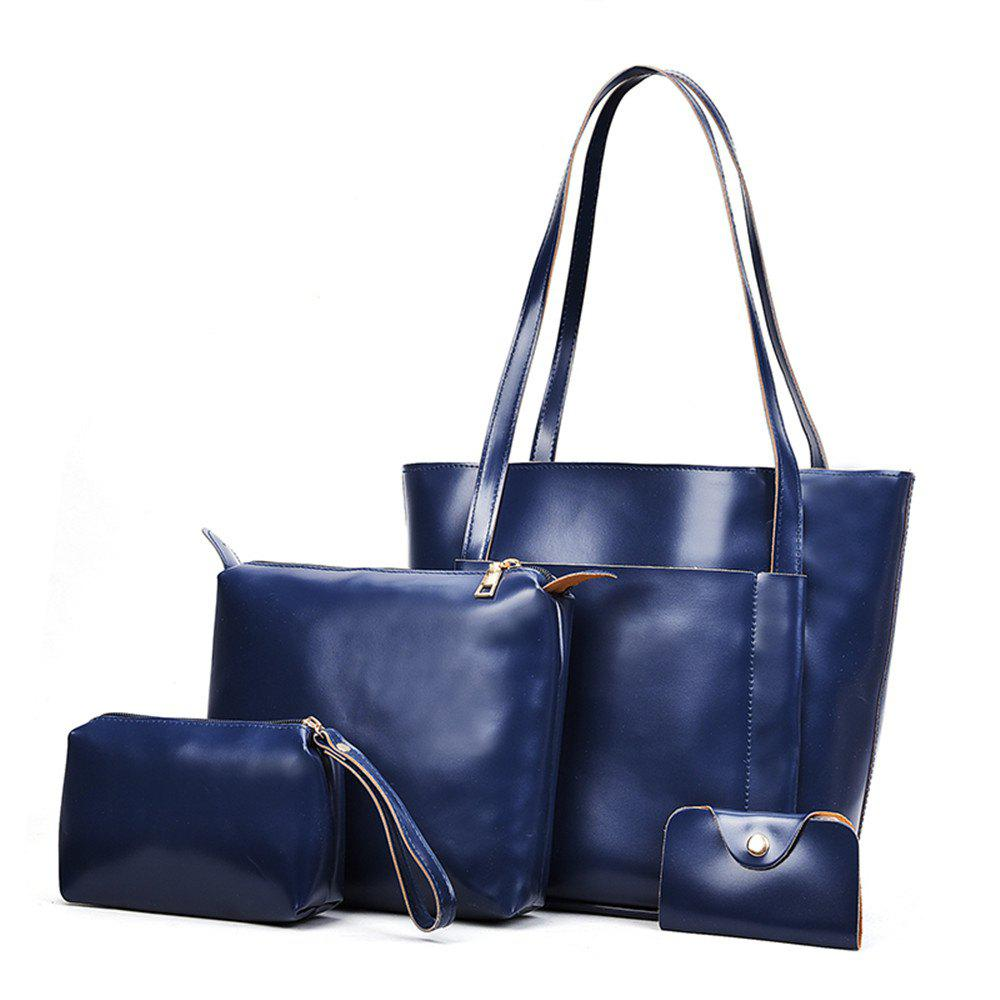 Women's Four Pieces Hand Shoulder Soft Leather Large Capacity Tote Bag - BLUE