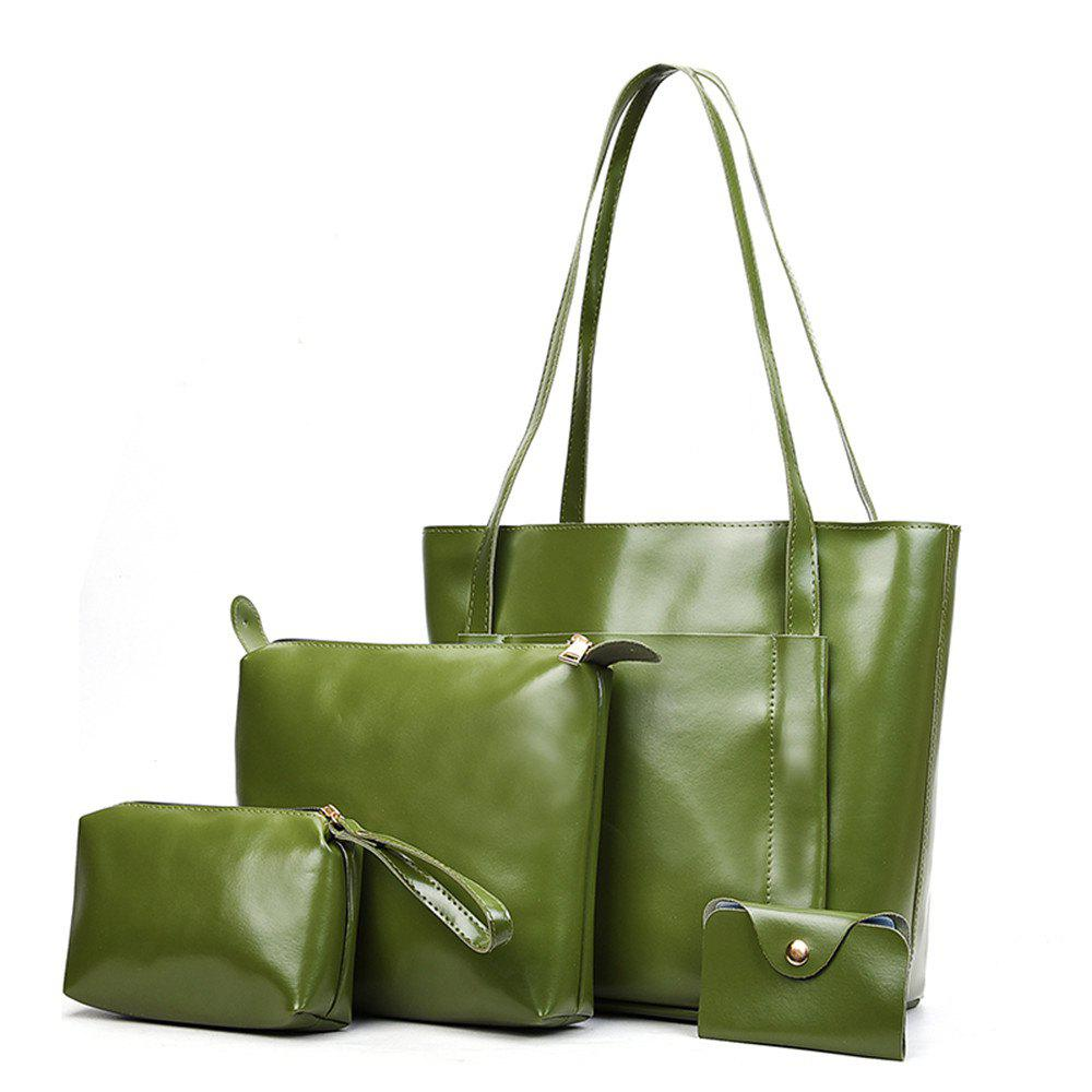 Women's Four Pieces Hand Shoulder Soft Leather Large Capacity Tote Bag - GREEN