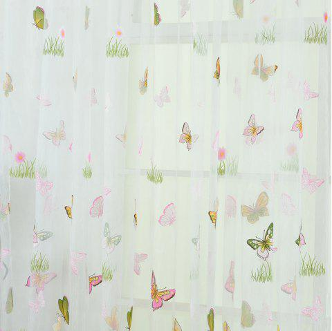 Green Grass Butterfly Pattern Fashion Curtain - PIG PINK 100X200CM