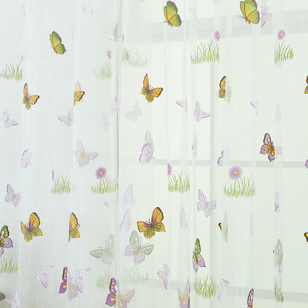 Green Grass Butterfly Pattern Fashion Curtain - MAUVE 100X200CM