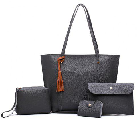 Female Bag All-Match Tassel Four Piece Litchistria Handbag Fashion - DARK GRAY