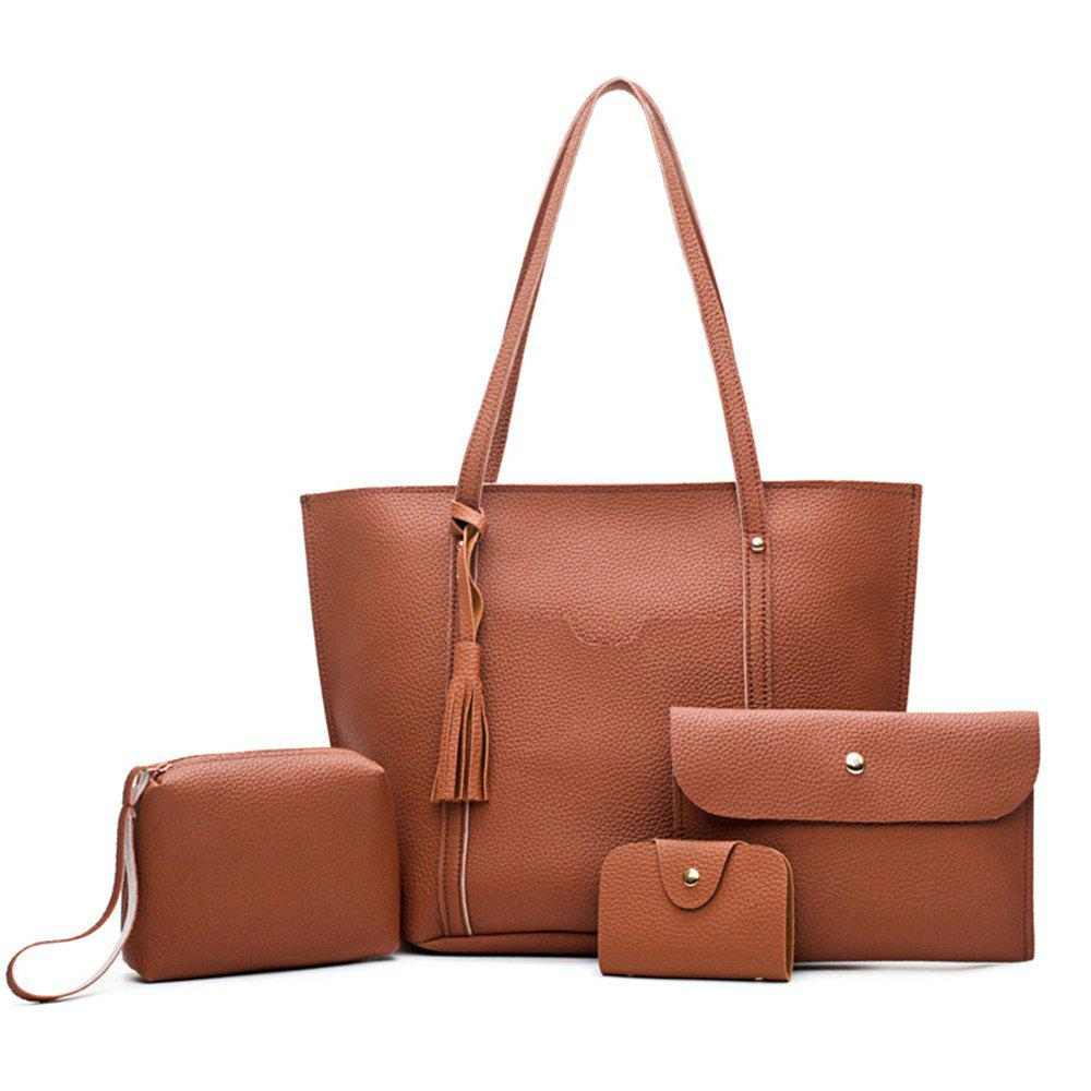 Female Bag All-Match Tassel Four Piece Litchistria Handbag Fashion - RUST