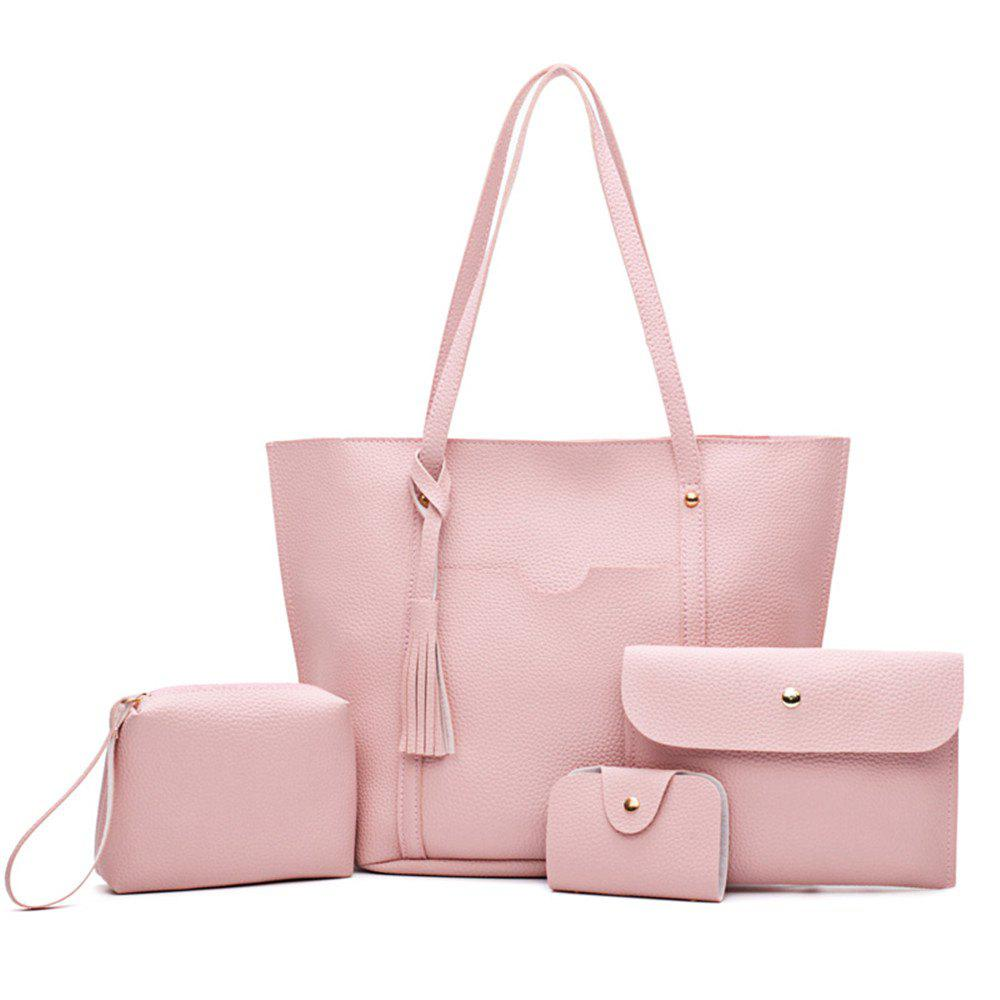 Female Bag All-Match Tassel Four Piece Litchistria Handbag Fashion - PINK