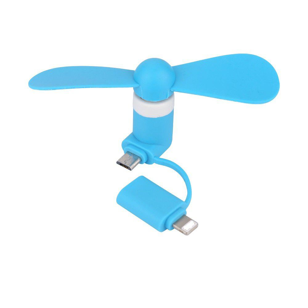 Two-In-One Mobile Phone Fan Suitable for Andriod IPhone - DENIM BLUE