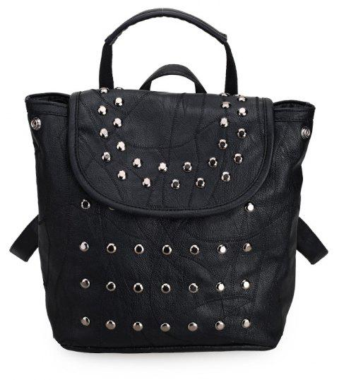 Casual Women Rivet Travel Backpack for Teenage Girls PU Leather School Bag - BLACK