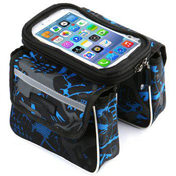 Bicycle Handlebar Bags Front Shelf Storage Saddle with Touch Screen Phone Case - BLUE