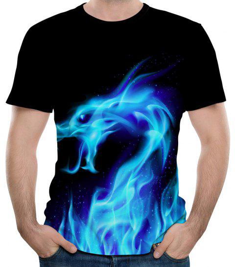 New Summer Fashion Blue Dragon 3D Print Men's Round Neck Short Sleeve T-shirt - multicolor B 5XL