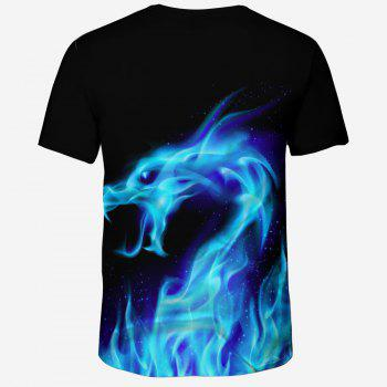 New Summer Fashion Blue Dragon 3D Print Men's Round Neck Short Sleeve T-shirt - multicolor B M