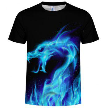 New Summer Fashion Blue Dragon 3D Print Men's Round Neck Short Sleeve T-shirt - multicolor B 4XL
