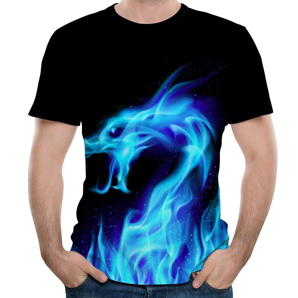 New Summer Fashion Blue Dragon 3D Print Men's Round Neck Short Sleeve T-shirt - multicolor B 6XL