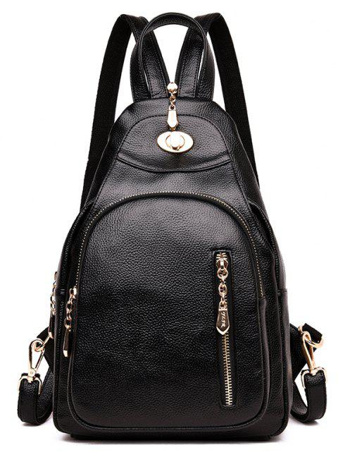 Lady 's Bag with Simple Soft Leather Bag Casual Personality - BLACK 23 X 11 X 34