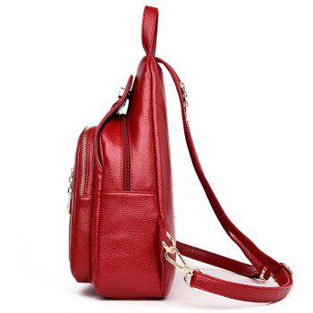 Lady 's Bag with Simple Soft Leather Bag Casual Personality - LAVA RED 23 X 11 X 34