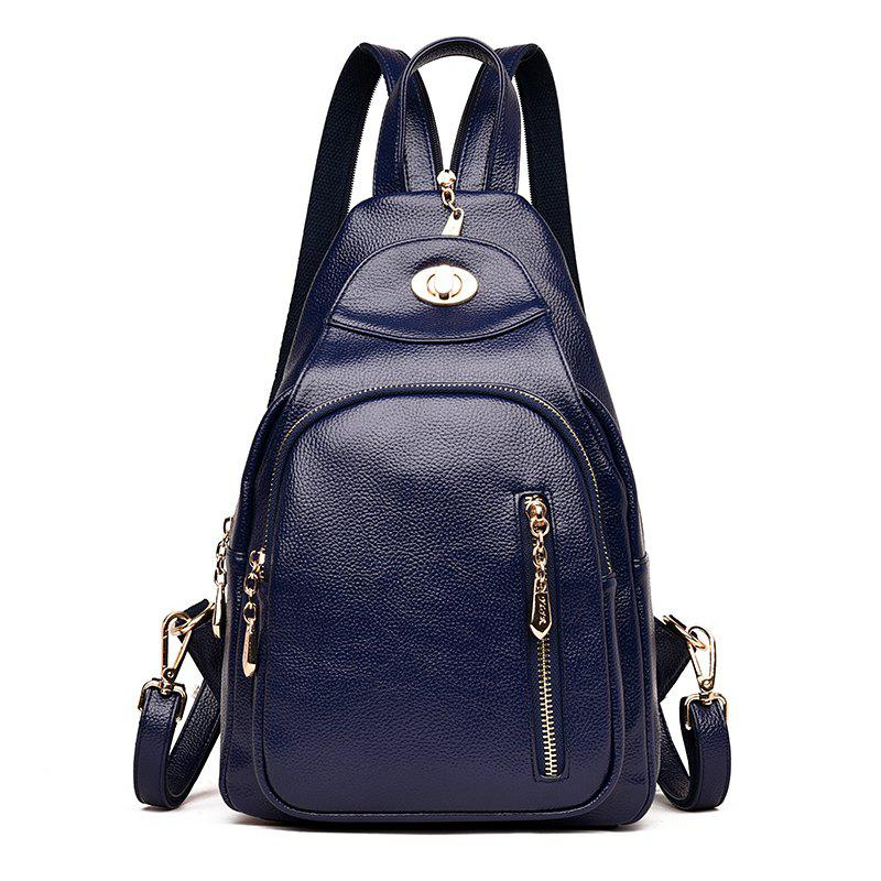 Lady 's Bag with Simple Soft Leather Bag Casual Personality - COBALT BLUE 23 X 11 X 34