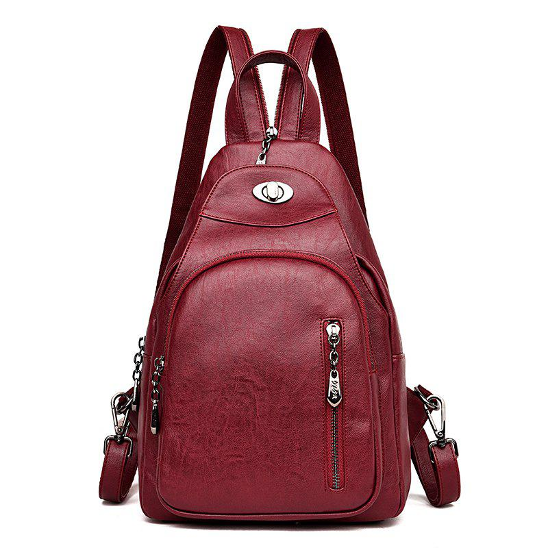 Lady 's Bag with Simple Soft Leather Bag Casual Personality - RED WINE 23 X 11 X 34