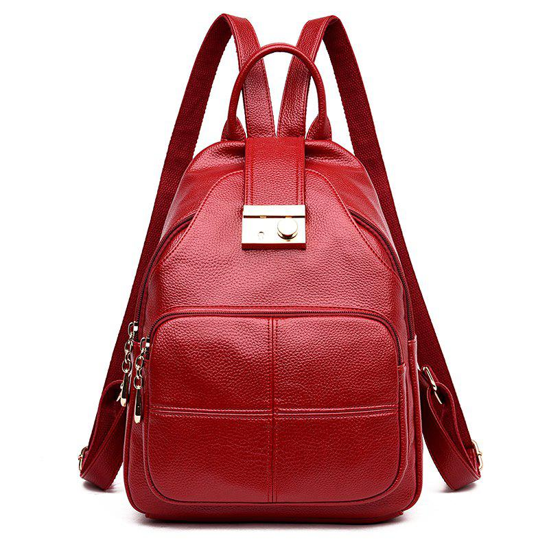 Lady Fashion Ladies Soft Leather Travel Individual Knapsack - LAVA RED 28 X 14 X 37