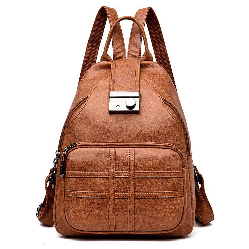 Lady Fashion Ladies Soft Leather Travel Individual Knapsack - CINNAMON 28 X 14 X 37