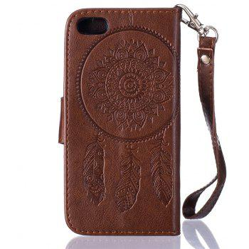 3D Embossed Wind Bell PU Leather Flip Folio Wallet Cover for iPhone 5/5S/SE - BROWN