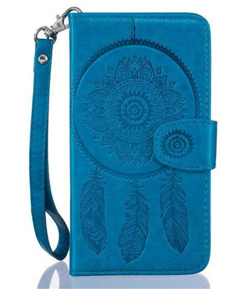 3D Embossed Wind Bell PU Leather Flip Folio Wallet Cover for iPhone 7 - BLUE