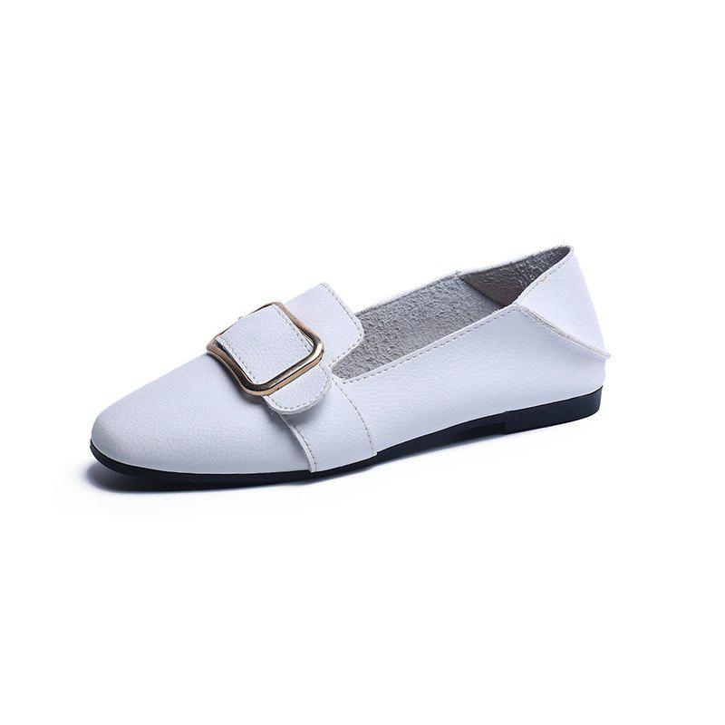 Flat Bottom  Leisure Student Women's Shoes - WHITE 39