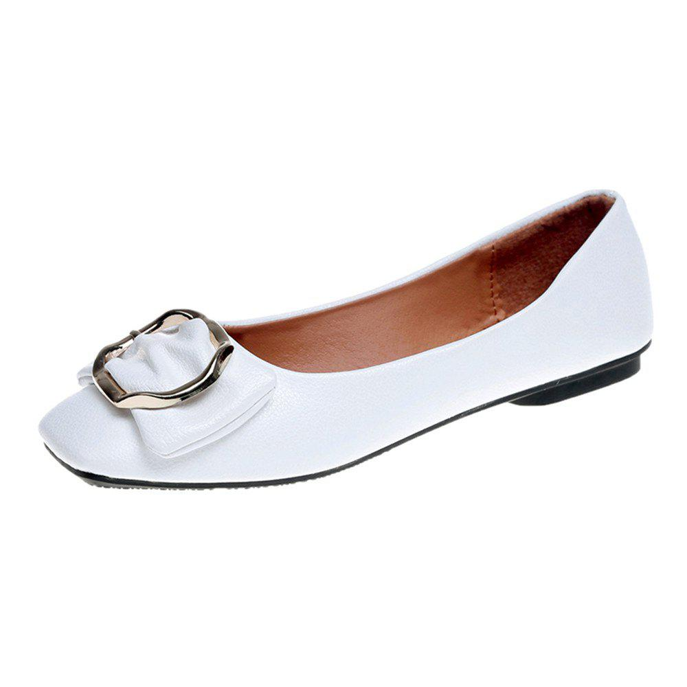 Flat Round Head Shallow Mouth Soft Leather Fashion Show Thin Women's Shoes - WHITE 36