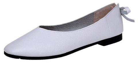 Square Head Shallow Mouth Low Heel Flat  Match Women's Shoes - WHITE 35