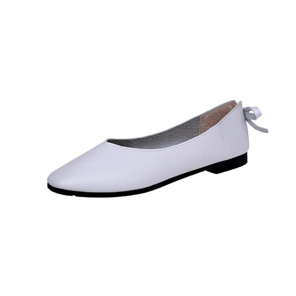 Square Head Shallow Mouth Low Heel Flat  Match Women's Shoes - WHITE 38