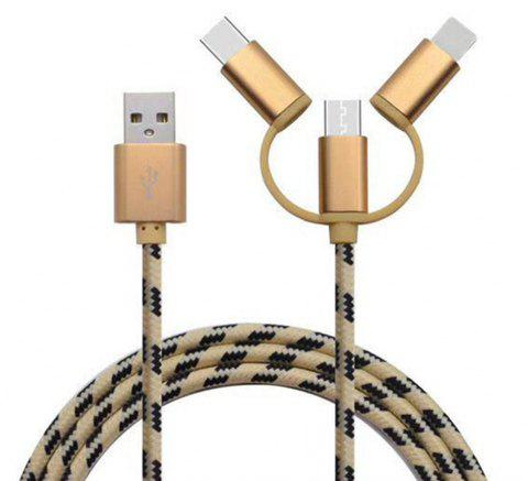 Type-C Micro 3 in 1 Multiple USB Charging Cable for iPhone Xiaomi - GOLD