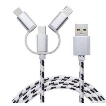 Type-C Micro 3 in 1 Multiple USB Charging Cable for iPhone Xiaomi - SILVER