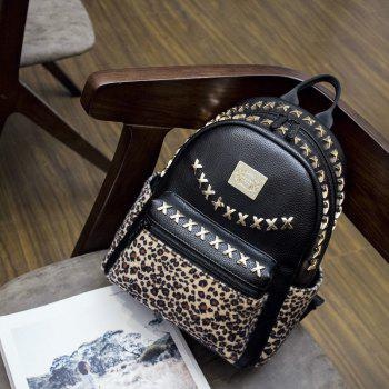 Women'S Backpack Color Block Camouflage Stylish Bag - BLACK VERTICAL