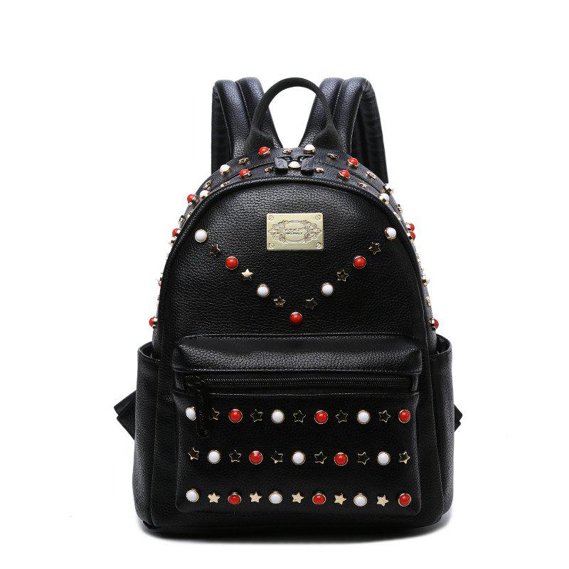 Women'S Packbag Pu Rivet Bag - BLACK VERTICAL