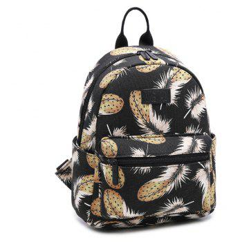 Women's Backpack Feathers Pattern Casual Preppy Large Capacity Stylish Bag - BLACK VERTICAL