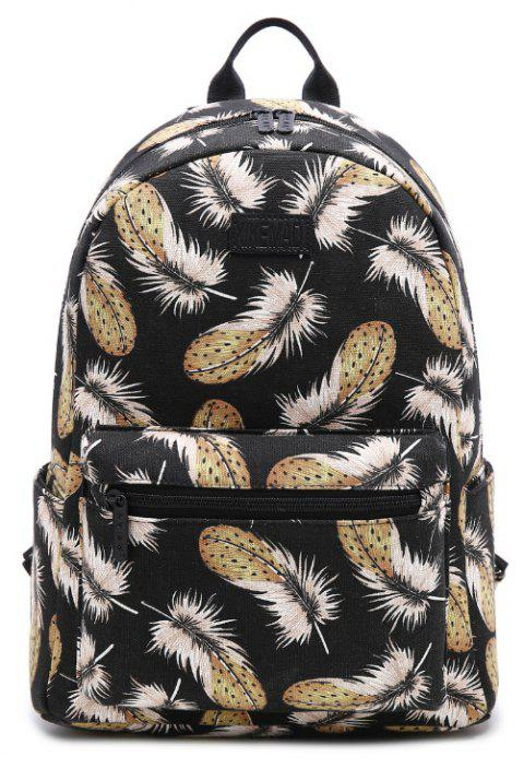 Feather Pattern Casual Fashion Double Shoulder Bag - BLACK