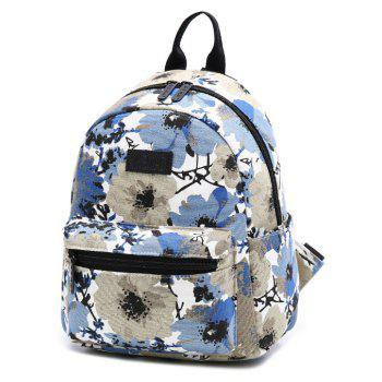 Women's Backpack Flowers Pattern Sweet Casual Preppy Large Capacity Stylish Bag - JEANS BLUE VERTICAL