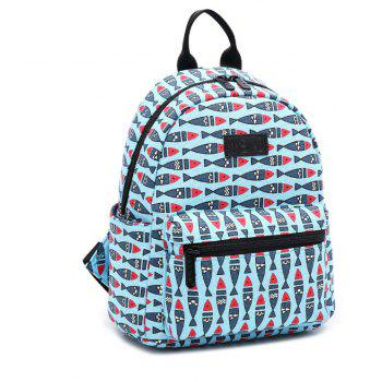Women'S Backpack Casual Preppy Large Capacity Animal Pattern Trendy Travelling - DAY SKY BLUE VERTICAL