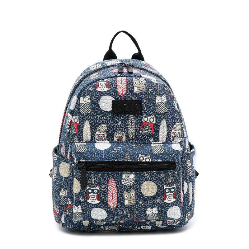 Women'S Backpack Color Block Animals Pattern Casual Preppy Large Capacity Stylish - BLUE JAY VERTICAL