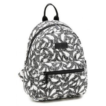 Women's Backpack Feather Pattern Casual Trendy Large Capacity Preppy Bag - GRAY CLOUD VERTICAL