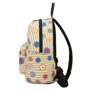 Women's Backpack Color Block Casual Preppy Large Capacity Stylish All Match Bag - YELLOW VERTICAL