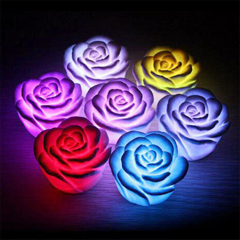 Night Lamp Color Changed Romantic Rose Flower Light - multicolor