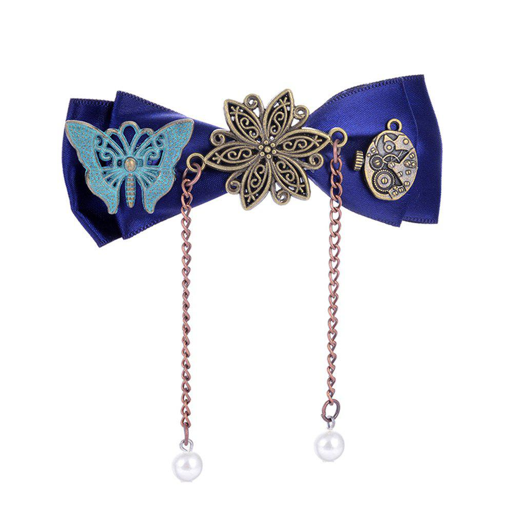 European and American Trade Accessories Steampunk Fabric Bow Gear Duckbill Clips - SAPPHIRE BLUE