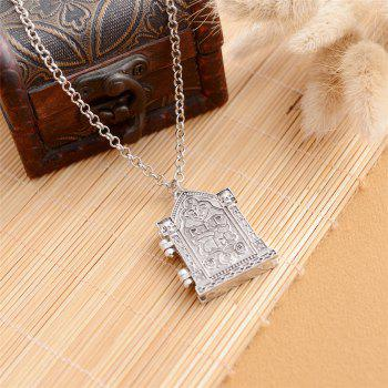 Europe and The United States Popular Gothic Stereo Frame Box Necklace - SILVER