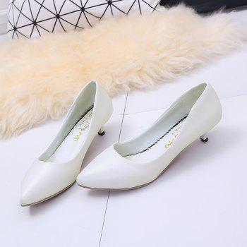 Black Pointy Heels  Women's Shoes - WHITE 39