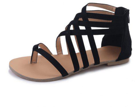 The Pine-toed Hollow With Roman Sandals - BLACK 42