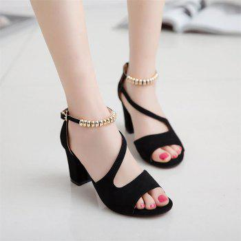 Fish Mouth Sandals With Strings Of Beads And Heels - BLACK 40