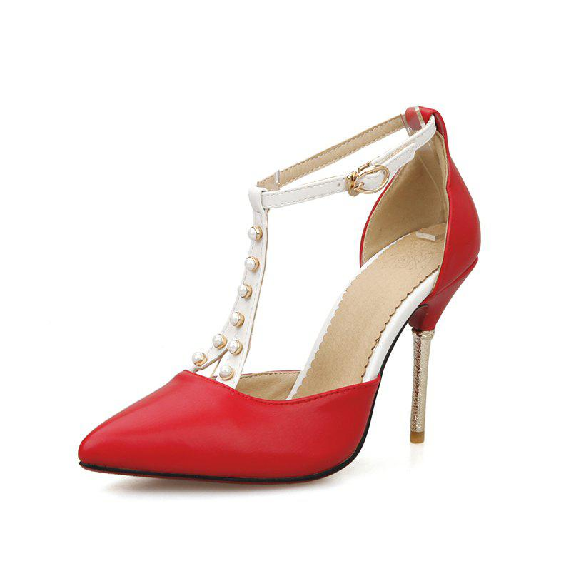 Summer Sharp and High Heeled Pearl Sandals - RED 38