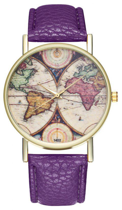 ZhouLianFa T402 Fashion Topographic Pattern Litchi Quartz Watch - VIOLET