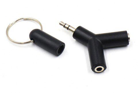 3.5mm Y Shape Stereo Jack Audio Headset Connector Adapter Keyring Splitter for iPhone 6 5 Android PC MP3 - BLACK
